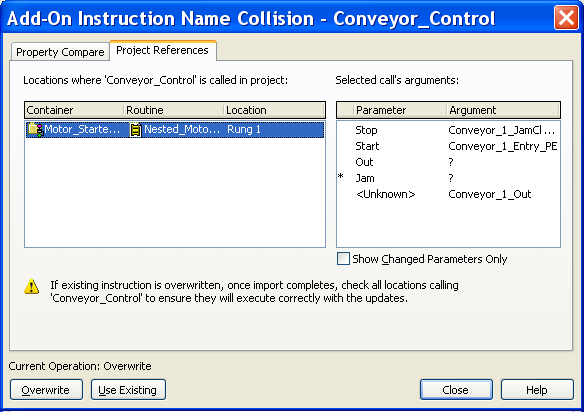 Import and Export Add-On Instructions Chapter 6 TIP The Compare dialog box compares metadata for each instruction definition, such as description, revision, or edited date.