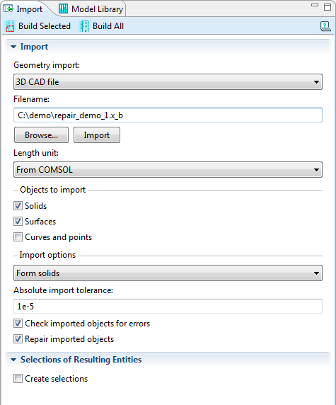 File Import Import solids, surfaces, curves, and points - Form solids from surfaces Length unit from CAD file or from COMSOL geometry