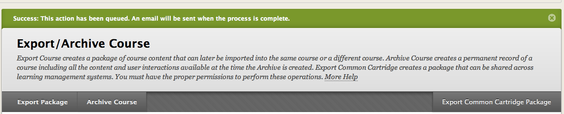 The export is queued for processing: When the export is complete,