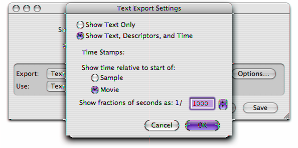 Movie Data Exchange Components Exporting Text Based on the options you specify in the text export settings dialog box, the text export component is assigned one of three text export option constants: