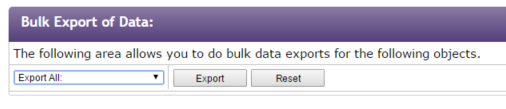 Export of Program Data : Bulk Programs Program Dates Applications Home Courses