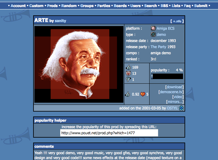 Figure 2.2: The production view of pouet.net displaying the details of Arte by Sanity. popularity of a particular demo, also revealing works considered as classics.