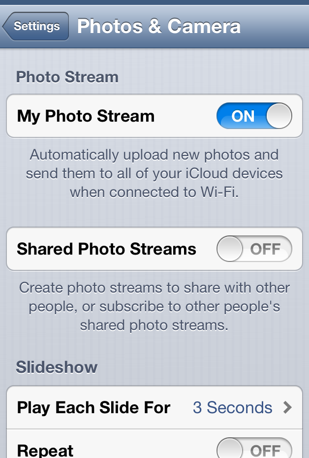 How do I enable Photostream? 4 Tap the Settings icon.