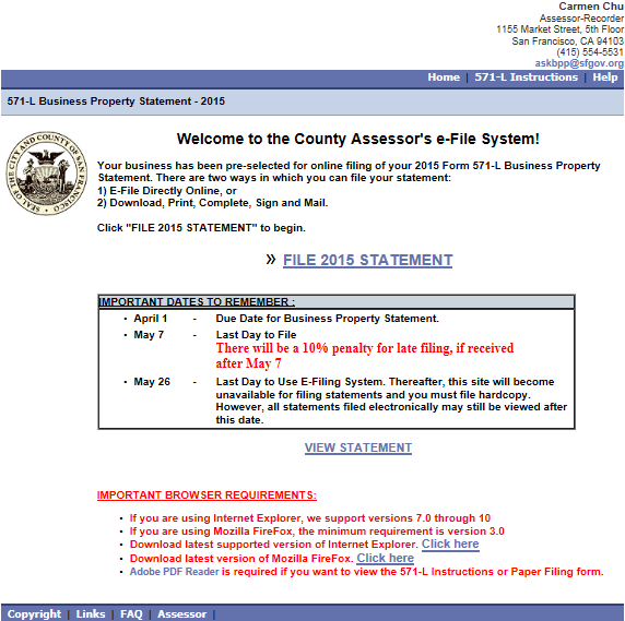 I. FILE 2015 STATEMENT - Go to the San Francisco County Assessor s