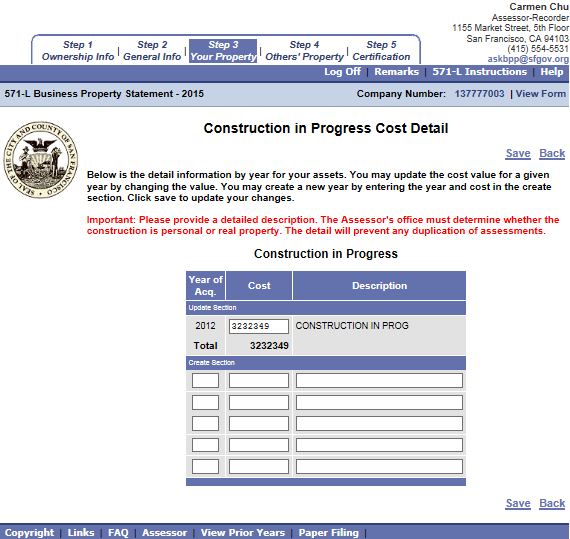 Construction in Progress Under Construction in Progress Cost Detail screen, fill out the