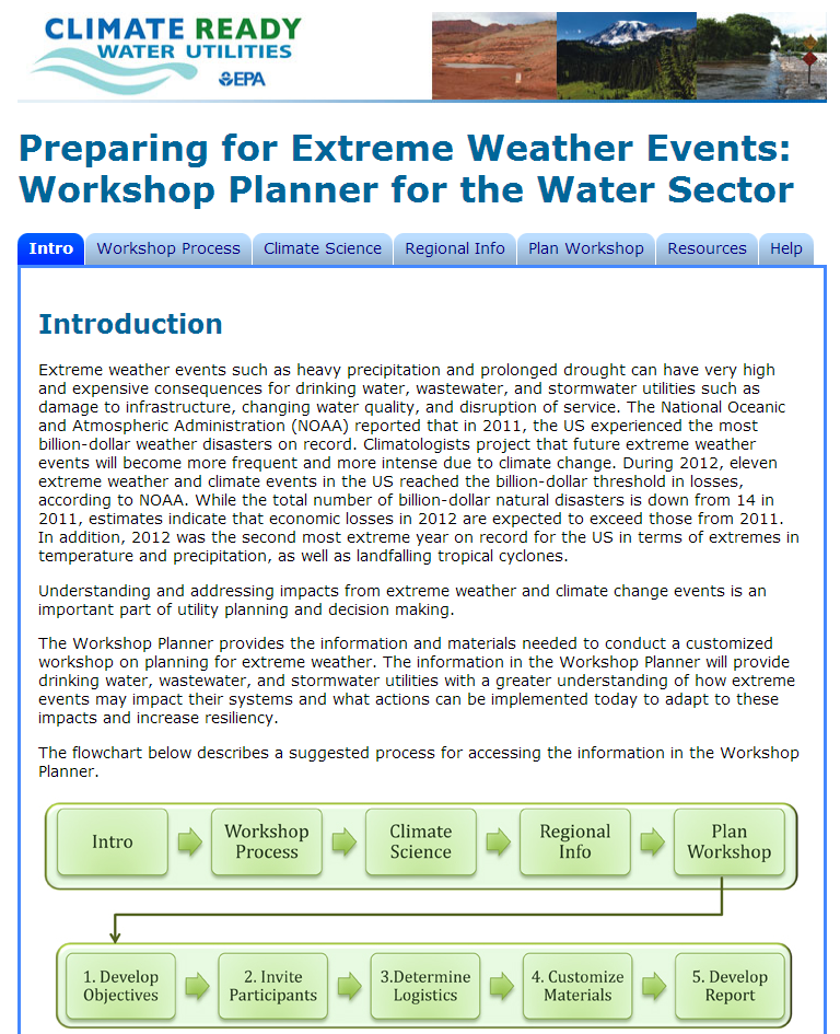 Walks users through all of the steps of planning and conducting an extreme events workshop Extreme Weather Events Workshop Planner Encourages