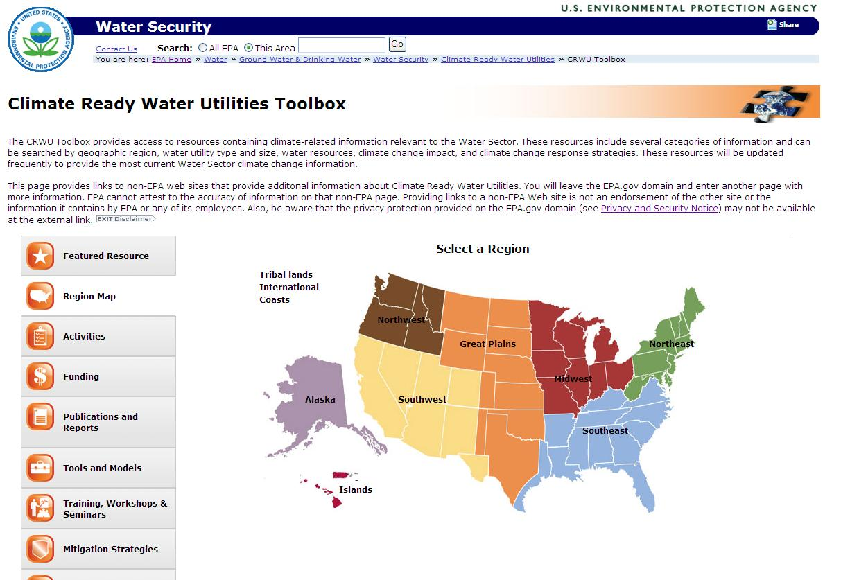 Toolbox Features: Browse by Tabs Region Map Highlighted Resources Link