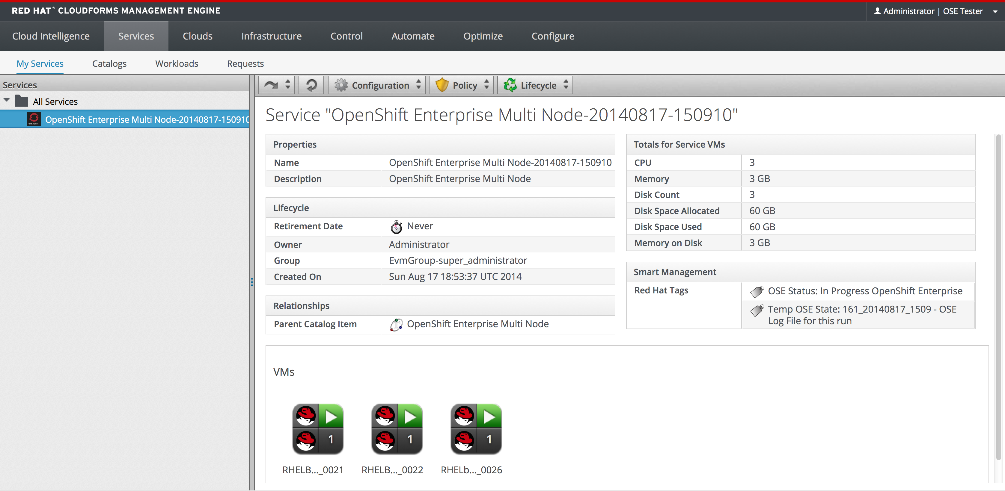 Red Hat CloudForms 3.1 Management Engine 5.3 O penshift Ent erprise Deployment G uide The install process creates tags dynamically and assigns them to various items.