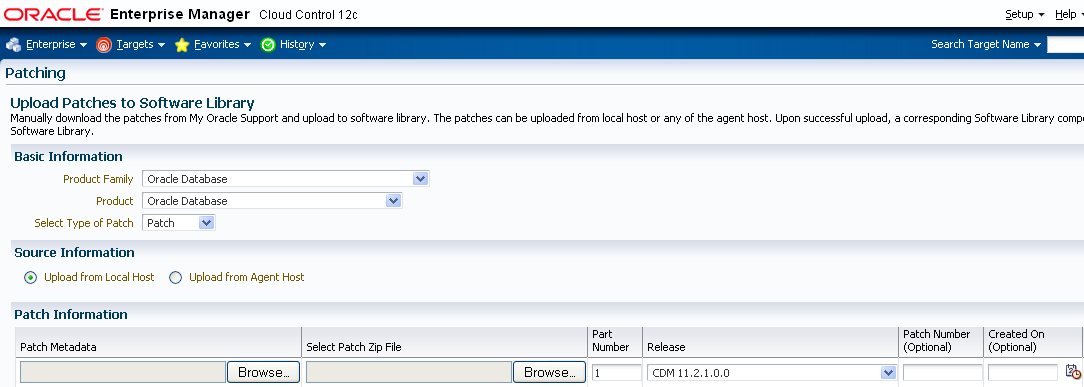 Figure 32: Upload patch On the Patch Upload page, browse to patch and its metadata to upload them.