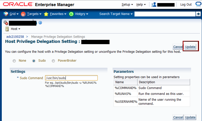 Figure 8: Host PRIVILEGE Delegation Setting Page Creating Named Credentials in Enterprise Manager Provisioning and Patching require Named Credentials for executing various jobs on the host in order