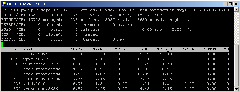 Figure 9. MinFree and Host Free Memory State in esxtop In the high state, the aggregate virtual machine guest memory usage is smaller than the host memory size.