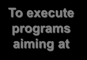 Goals To maximize returns to society in terms of To execute programs aiming at To promote excellence