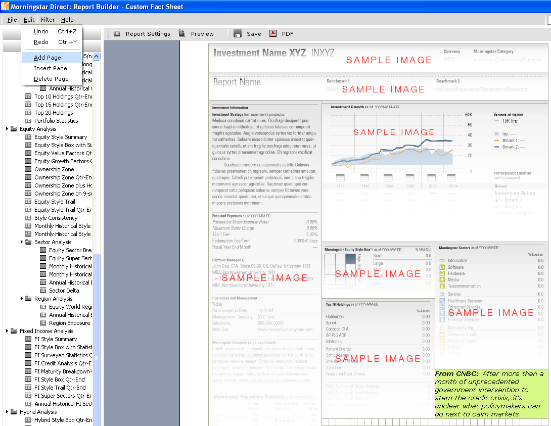 2. There are four folders on the left navigation. Go to the Templates folder and access Morningstar Samples. 4 2 3 3.