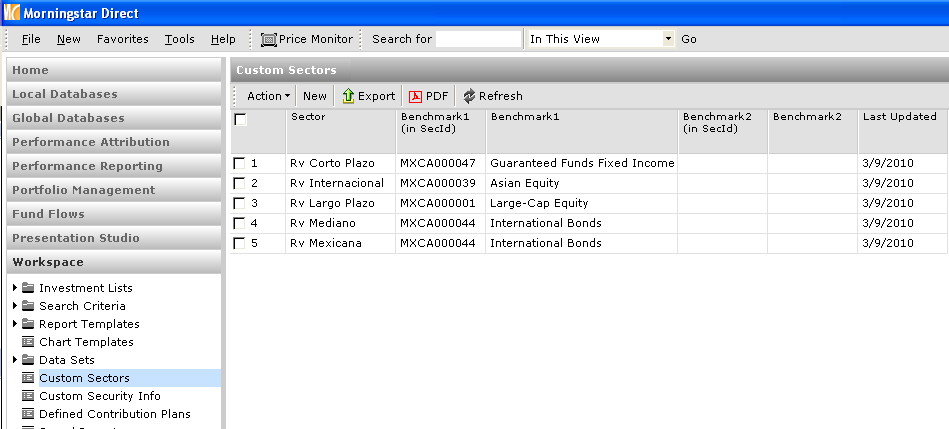 3. Double click on Morningstar Template Sectors and you will be taken to the next Import dialog box. 4. Go to File Name and Browse for your spreadsheet. 5 4 6 5.