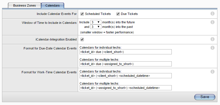 Setting Up the Application 2. In the Include Calendar Events For row, select the check box that indicates which types of tickets will be included in the calendar display.