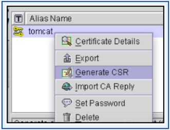 Generating a Certificate Signing Request (CSR) 17. Click OK. In the Generate Certificate panel, Porteclé asks you to provide an alias for the new keypair. 18.