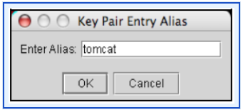 Configuring and Managing Authentication 16. Click OK. In the Generate Certificate panel, Porteclé asks you to provide an alias for the new key pair. 17.
