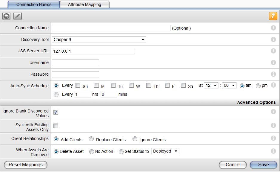 Configuring Casper 9 Settings 10. Click Edit. 11. Map the desired custom asset fields to Casper s attributes.
