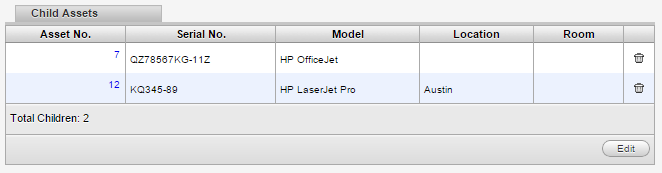 Managing Assets 6. Click the Edit icon at the top of the window. The window changes to Edit mode, allowing you to change the asset details. 7. In the Child Assets tabbed box, click Edit.