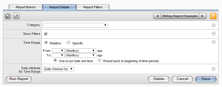 Working with Reports To create a new billing report: 1. In the toolbar, click Reports. The Reports screen appears. 2. Click New. The Report Basic tab window appears. 3.