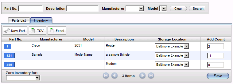 Managing Parts and Billing Web Help Desk tracks part inventory levels for locations set to store parts. To add parts to Web Help Desk, see Manually Adding Parts.