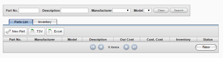 Manually Adding Parts To remove defective parts from inventory, enter the number of parts in the DOA field.