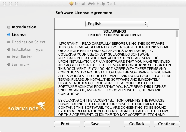 Installing Web Help Desk on an Apple OSX System 6. Review the introduction text, and then click Continue. The Software License Agreement screen appears. 7.
