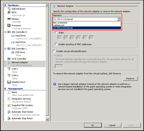 Using Microsoft Hyper-V 9. Confirm the network is set to Not Connected by default after deployment. 10.
