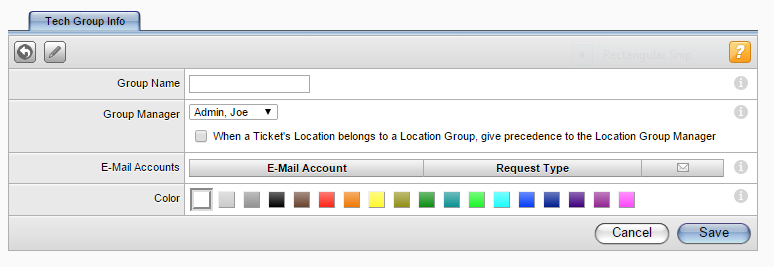 Creating a Tech Group In this screen, you can: Create a tech group Assign tech group levels Assign supported request types Creating a Tech Group To create a new tech group: 1.