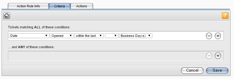 Creating Action Rules for Ticket Processing 7. In the Rule Triggering field, select the rule triggering options to define when and how often Web Help Desk applies the action rule. 8.