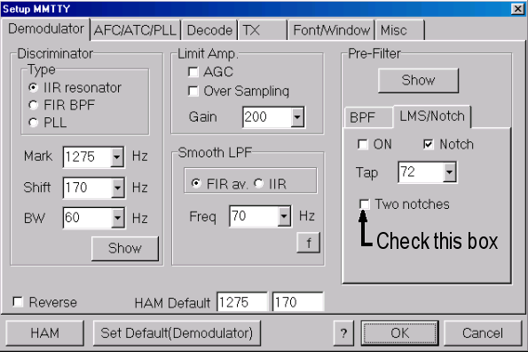 Here is the Notch tab within the Demodulator tab, showing how to turn on two notches. Rev. and HAM Default Reverse The Reverse check box reflects the position of the Rev. button in the control panel.