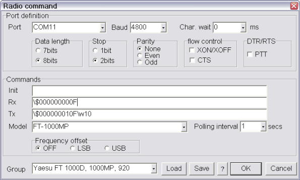 Set-Up Radio Command Here is the procedure to set-up MMTTY to communicate with the transceiver.