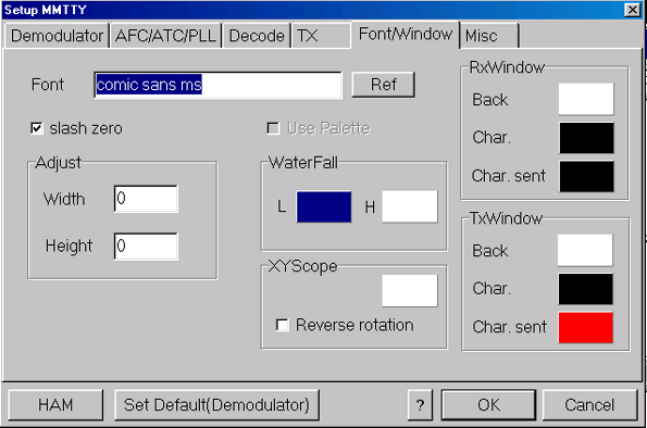 The Font/Window tab allows you to adjust MMTTY's data windows and waterfall. Font - selects the font for text in receive and transmit windows.