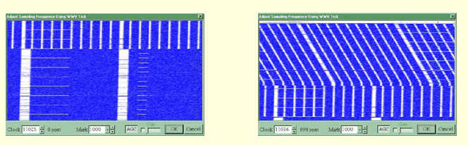 Here are two pictures of Russian time standard station RWM. The first shows a properly adjusted display. The second illustrates an error of 1000 ppm. Note the slanted lines.