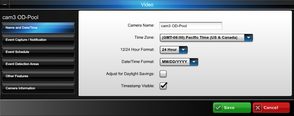 Edit camera settings Note, the settings for each camera are configured separately.