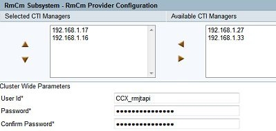 Step 13: In the Unified CM Telephony Subsystem Unified CM Telephony Provider Configuration section, in the Available CTI Managers list, choose the Unified CM servers 192.168.1.17(subscriber), and then move them to the Selected CTI Managers list by clicking the left-facing arrow.