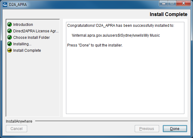 Chapter 2 D2A installation and setup 12. Click Install. 13. When the installation is complete, click Done. Once installed, D2A is available from the Start menu, select All Programs > APRA Tools > D2A.