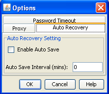 Chapter 2 D2A installation and setup 2. Click the Auto Recovery tab. 3. Select Enable Auto Save. 4. In Auto Save Interval (mins) enter the frequency, in minutes, at which recovery files are created 5.