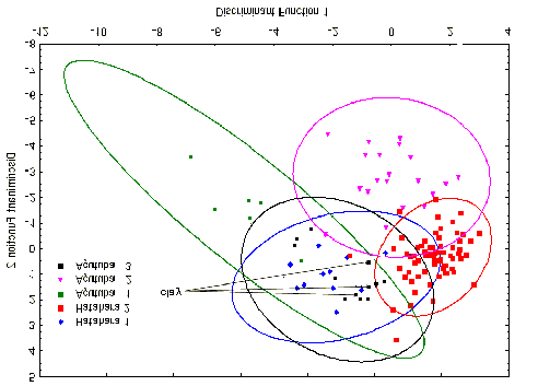 extracted from a variance covariance matrix of the log-transformed elemental concentration values. After that, the data were submitted to discriminant analysis.