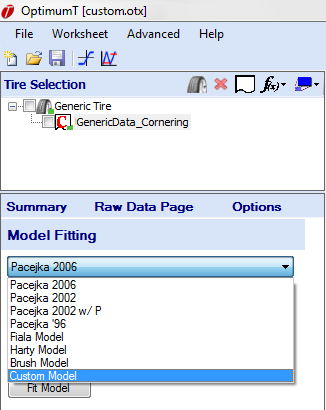 Figure 5.9: Custom Model Fitting Selecting the Custom Model item from the dropdown will bring up the Custom Model Selection Dialog shown in Figure 5.10.