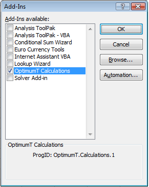 Figure 6.4: Implementing the OptimumT Add-In The Add-ins selection window will now appear. In Figure 6.4 OptimumT.Calculations is shown in the list of add-ins.