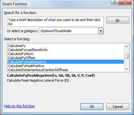 Figure 6.6: Inserting OptimumT Functions into Excel Then the parameters of the function can be inputted as shown in Figure 6.7.