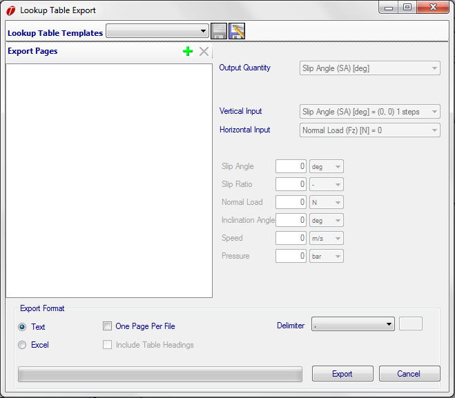 Figure 6.14: Lookup Table Export Form The form is split into three parts. The first is the Page Tree.