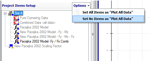 Figure 7.1: Plot All Data Option in the Project Tree The other two procedures to disable this option are located in the Project Items Setup at the bottom of the graph setup form as shown in Figure 7.