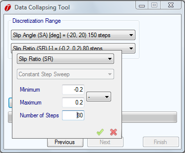 Figure 2.11: Setting Discretization Range Clicking on the Collapse Data button will begin the collapsing process. This will compress each set of data points that fall within each discretization step.