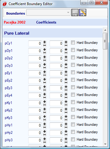Figure 3.9: Coefficient Boundary Editor Weighting Functions Optionally, you can select a weighting function to apply to the fit.