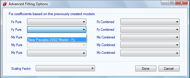 select the same type of tire model as was used for the lateral force model and click on the Fit Model button.