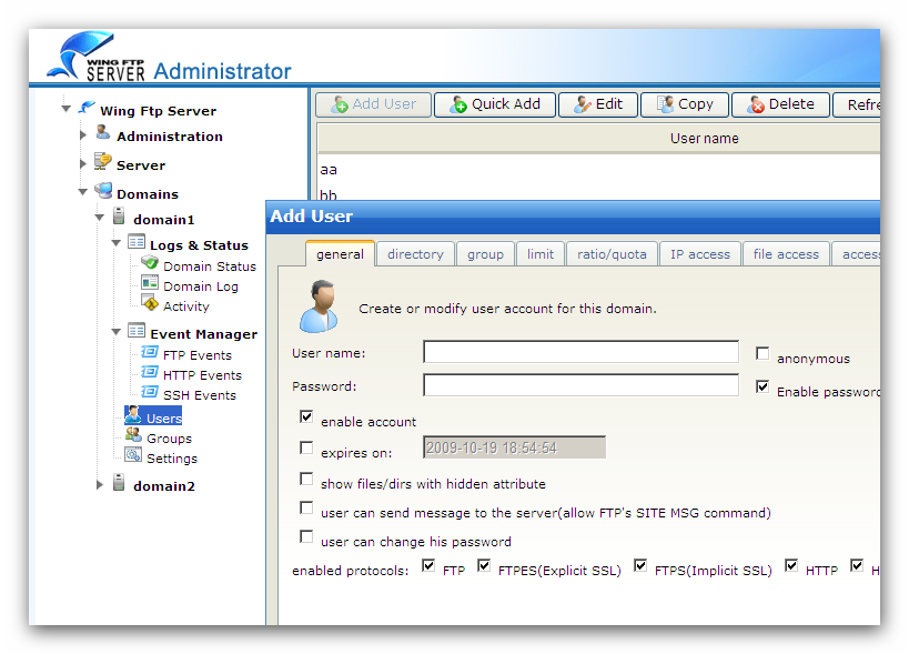 12 Wing FTP Server Help You need to provide a unique user name for the user account. This user name is used to begin the authentication process when connecting to the server.