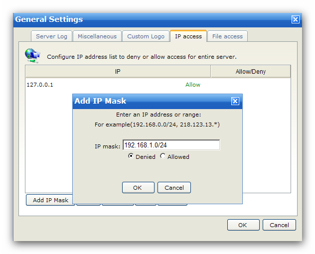 Server 4.2.1.4 41 IP Access Configure IP access rules to allow or deny access for the entire server.