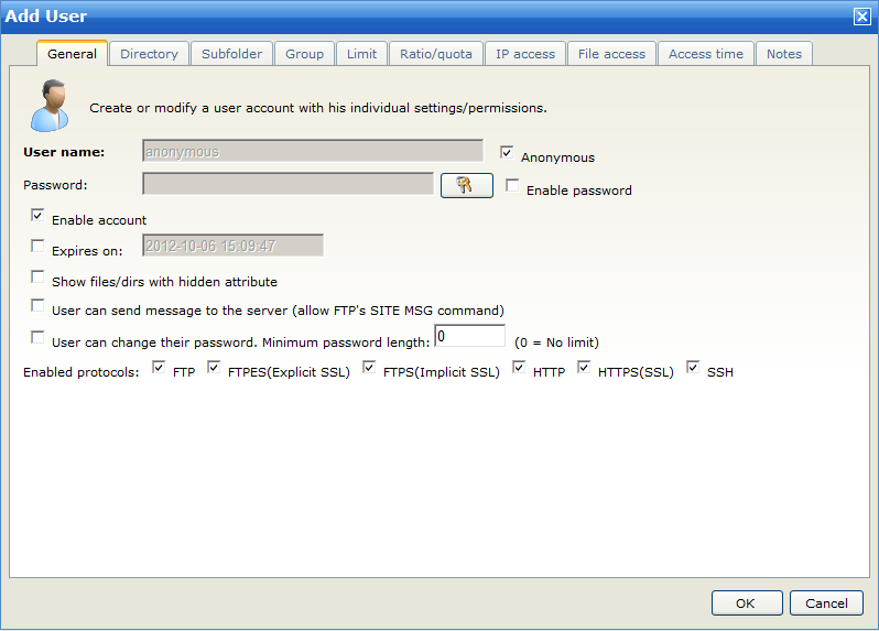 "92 Wing FTP Server Help If you want to add a user with detailed information, please click the ""Add User"" button."